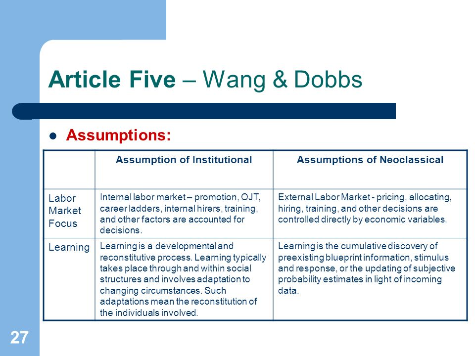 27 Article Five – Wang & Dobbs Assumptions: Assumption of InstitutionalAssumptions of Neoclassical Labor Market Focus Internal labor market – promotion, OJT, career ladders, internal hirers, training, and other factors are accounted for decisions.