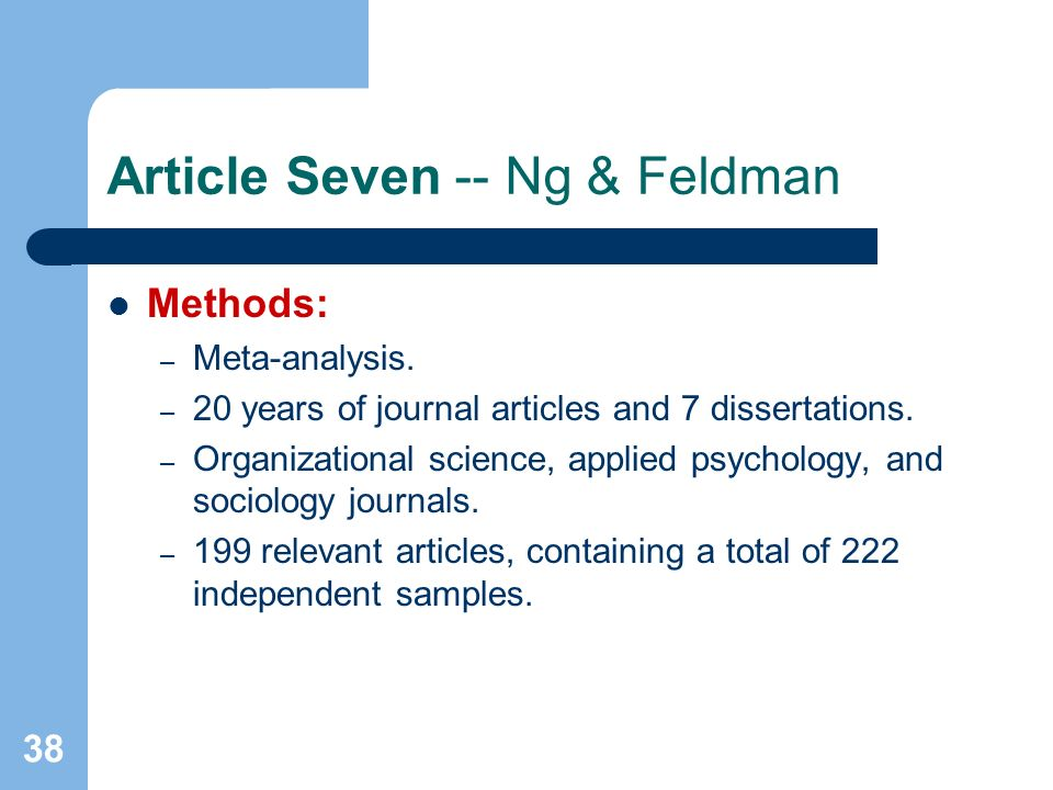 38 Article Seven -- Ng & Feldman Methods: – Meta-analysis.