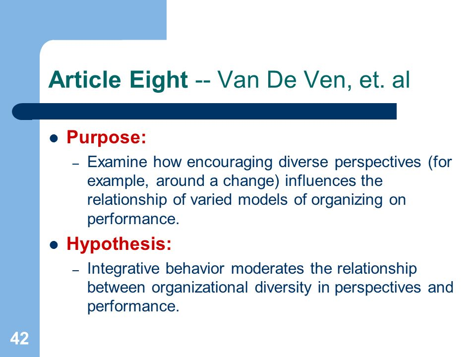 42 Article Eight -- Van De Ven, et.