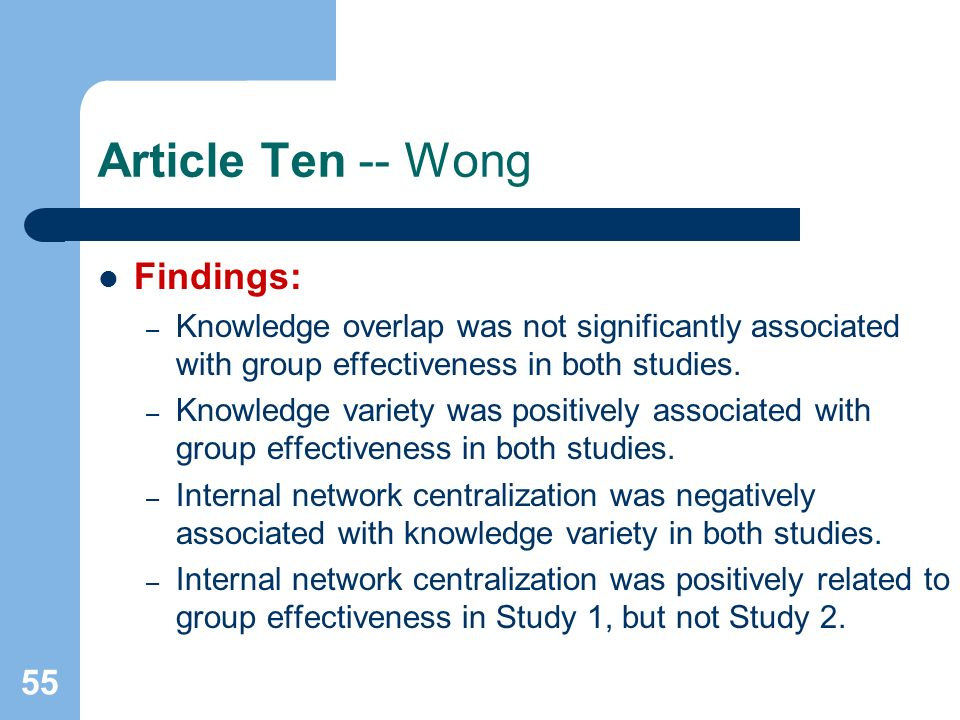 55 Article Ten -- Wong Findings: – Knowledge overlap was not significantly associated with group effectiveness in both studies.