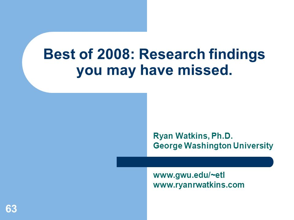 63 Best of 2008: Research findings you may have missed.