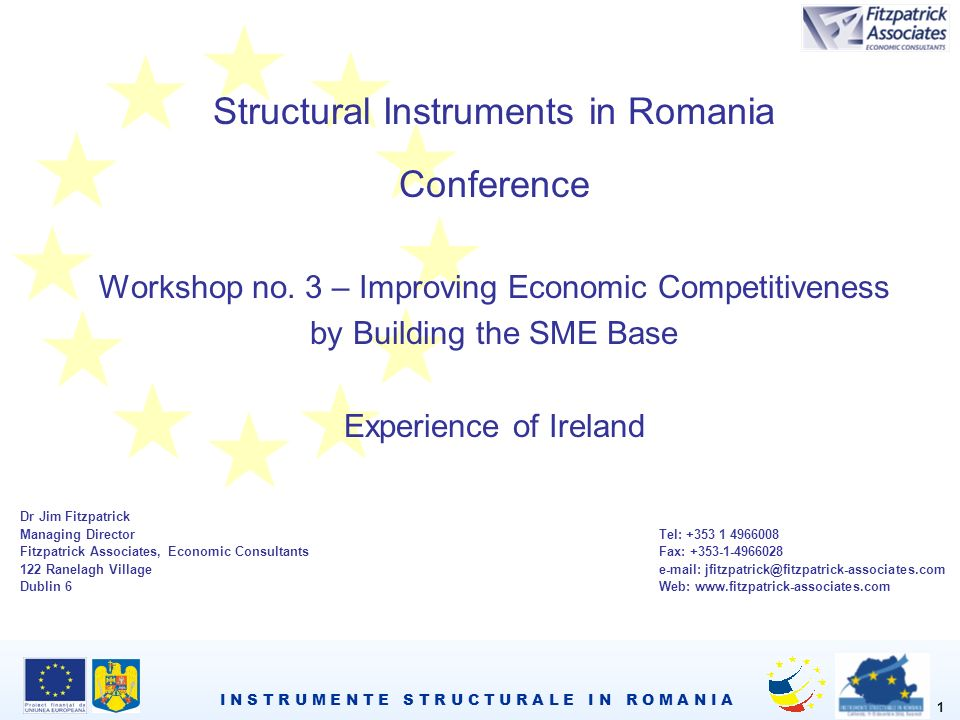 I N S T R U M E N T E S T R U C T U R A L E I N R O M A N I A 1 Structural Instruments in Romania Conference Workshop no.