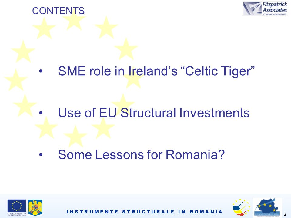 I N S T R U M E N T E S T R U C T U R A L E I N R O M A N I A 2 SME role in Irelands Celtic Tiger Use of EU Structural Investments Some Lessons for Romania.