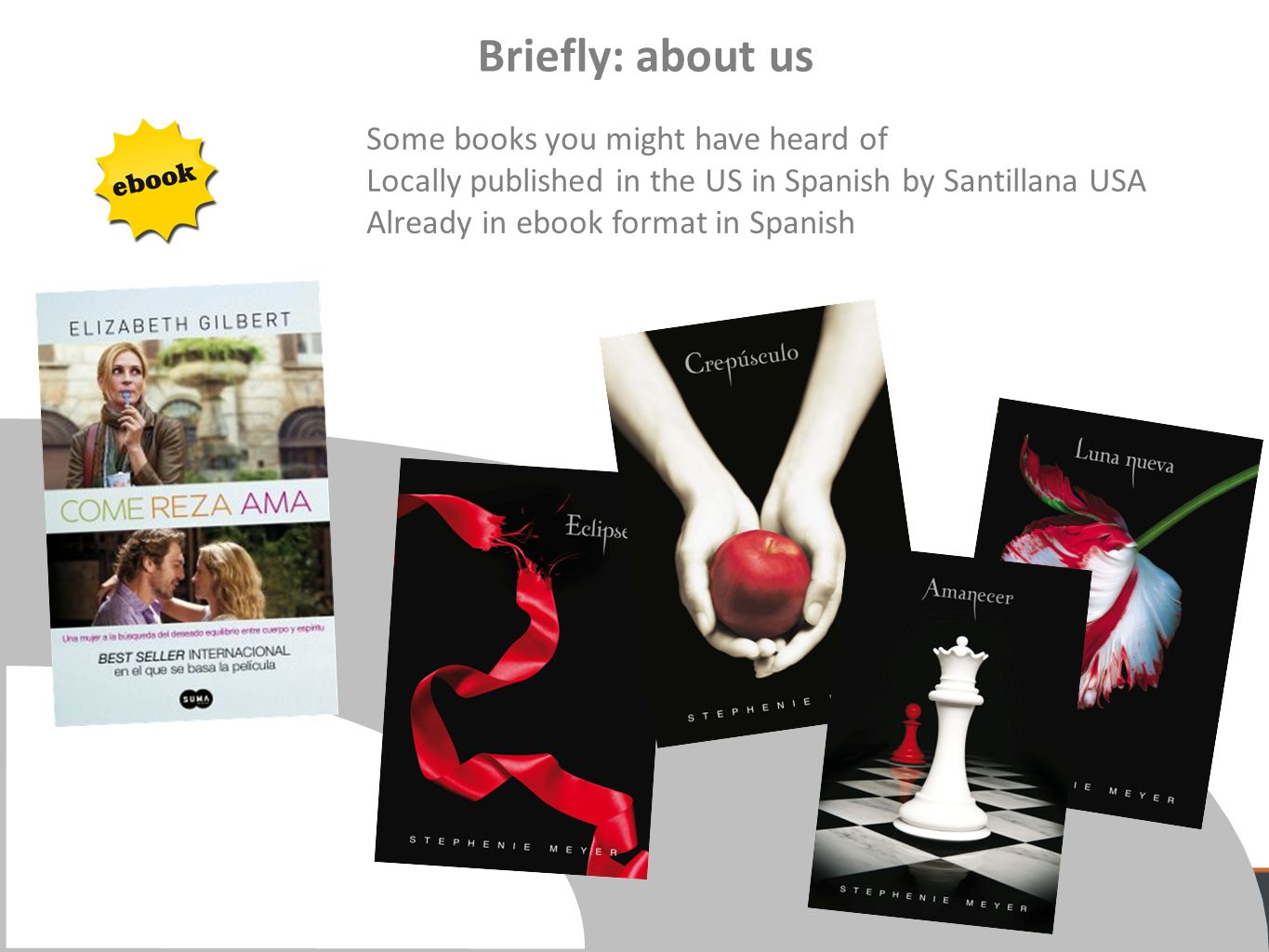 Some books you might have heard of Locally published in the US in Spanish by Santillana USA Already in ebook format in Spanish Briefly: about us