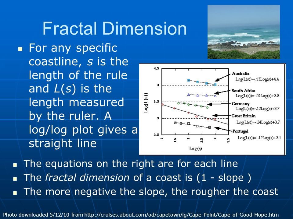 Fractal Dimension For any specific coastline, s is the length of the rule and L(s) is the length measured by the ruler.