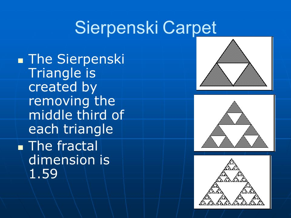 Sierpenski Carpet The Sierpenski Triangle is created by removing the middle third of each triangle The fractal dimension is 1.59