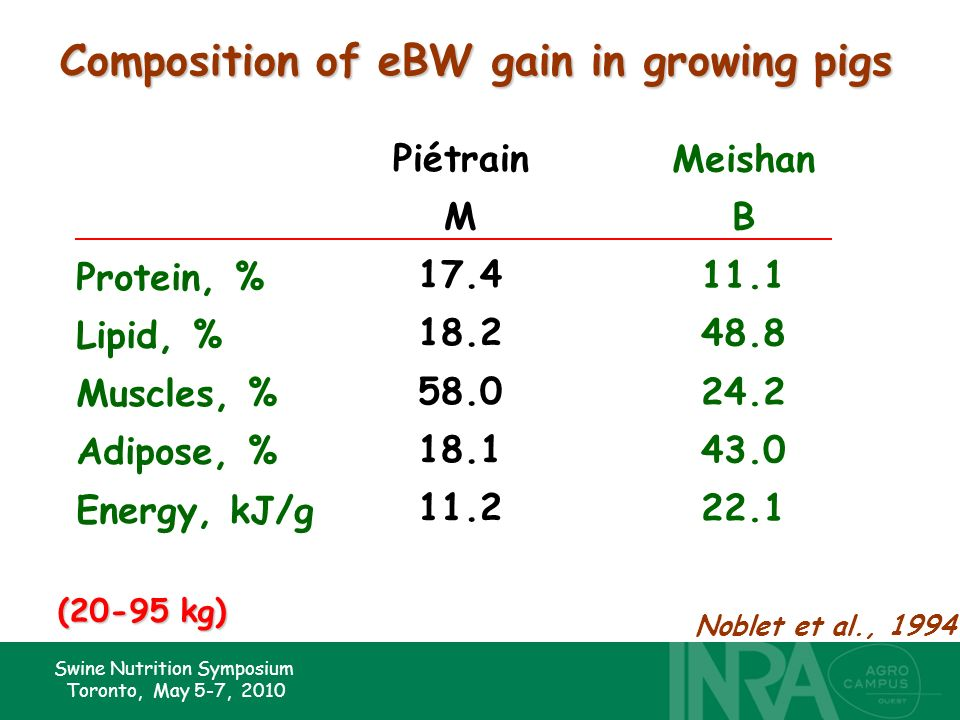 Swine Nutrition Symposium Toronto, May 5-7, 2010 Composition of eBW gain in growing pigs Piétrain M 17.4 18.2 58.0 18.1 11.2 Meishan B 11.1 48.8 24.2 43.0 22.1 Protein, % Lipid, % Muscles, % Adipose, % Energy, kJ/g Noblet et al., 1994 (20-95 kg)