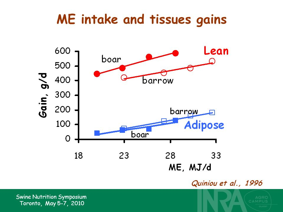 Swine Nutrition Symposium Toronto, May 5-7, 2010 ME intake and tissues gains Quiniou et al., 1996