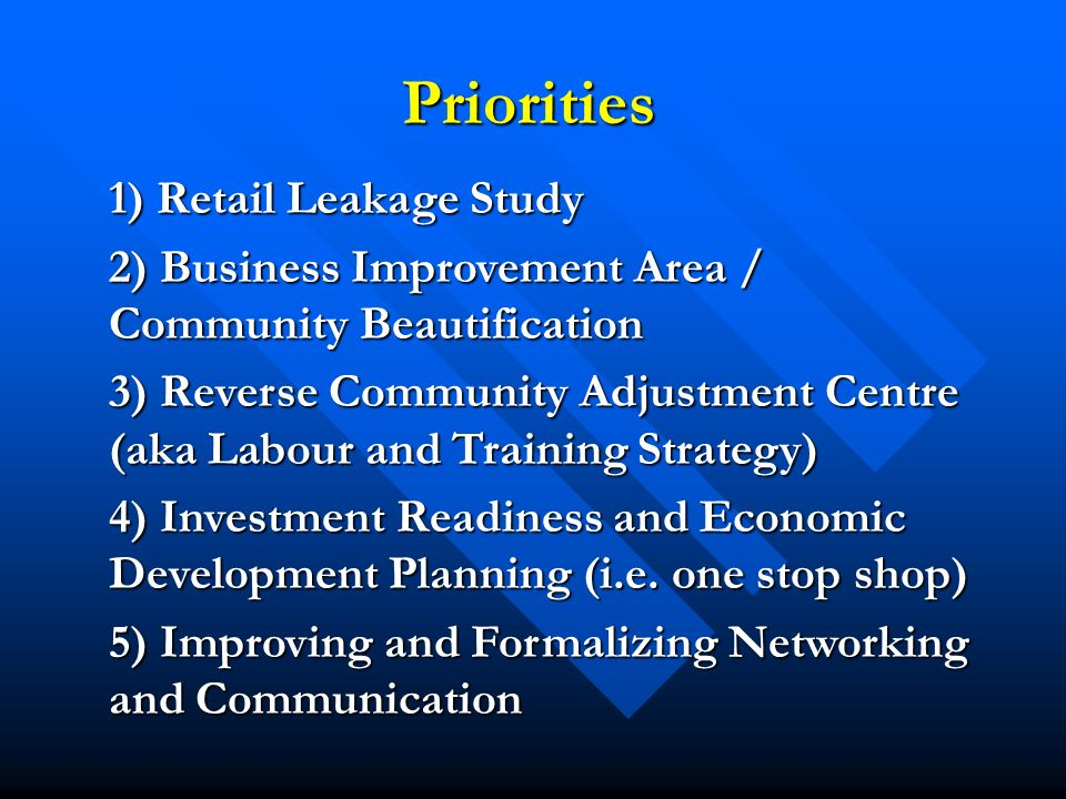Priorities 1) Retail Leakage Study 1) Retail Leakage Study 2) Business Improvement Area / Community Beautification 3) Reverse Community Adjustment Centre (aka Labour and Training Strategy) 4) Investment Readiness and Economic Development Planning (i.e.