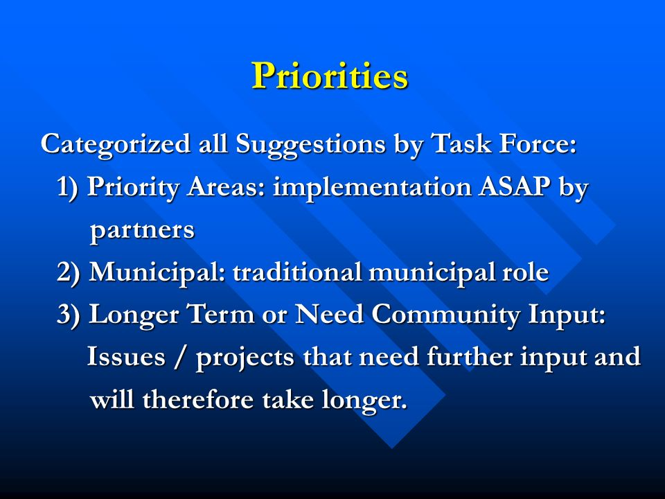 Priorities Categorized all Suggestions by Task Force: Categorized all Suggestions by Task Force: 1) Priority Areas: implementation ASAP by partners 2) Municipal: traditional municipal role 3) Longer Term or Need Community Input: Issues / projects that need further input and Issues / projects that need further input and will therefore take longer.