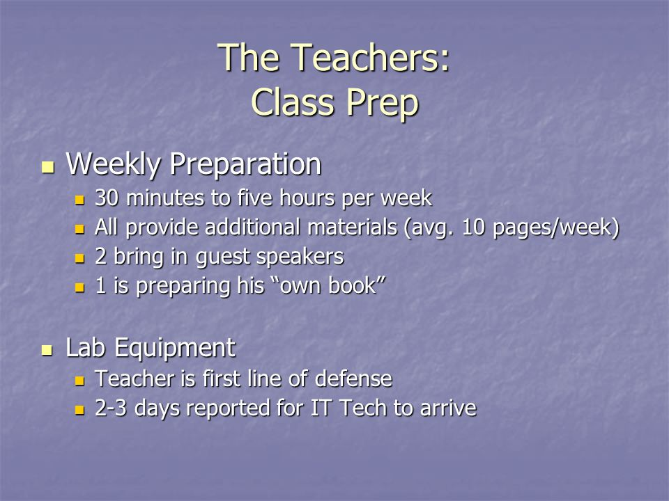The Teachers: Class Prep Weekly Preparation Weekly Preparation 30 minutes to five hours per week 30 minutes to five hours per week All provide additional materials (avg.