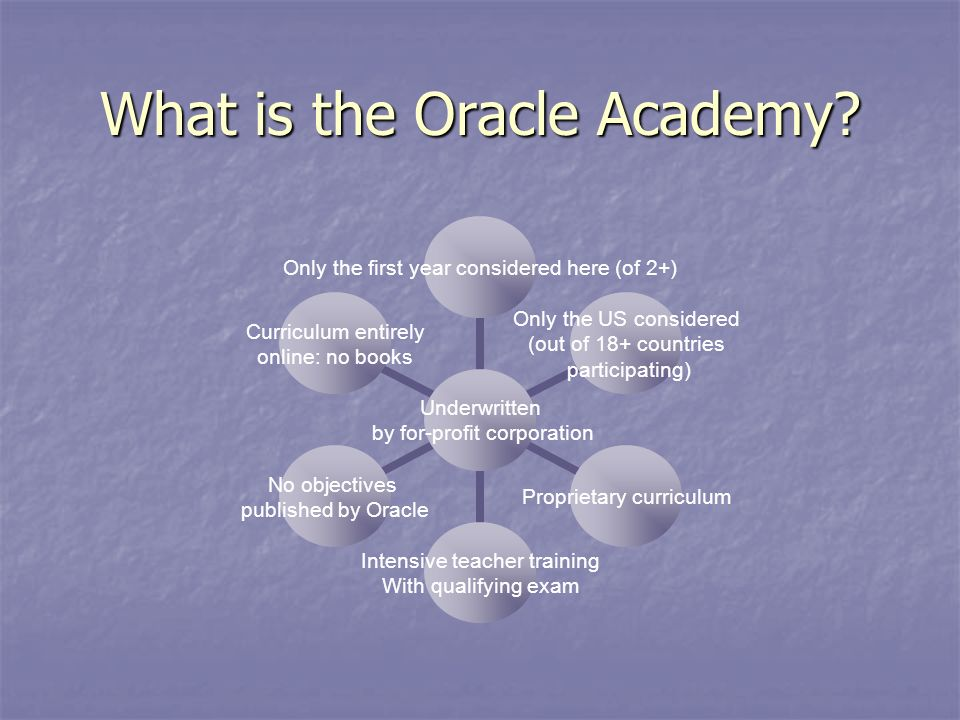What is the Oracle Academy.