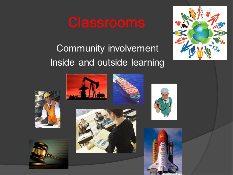 Classrooms Community involvement Inside and outside learning