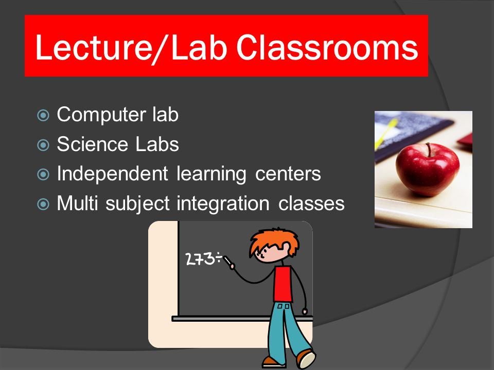 Lecture/Lab Classrooms Computer lab Science Labs Independent learning centers Multi subject integration classes