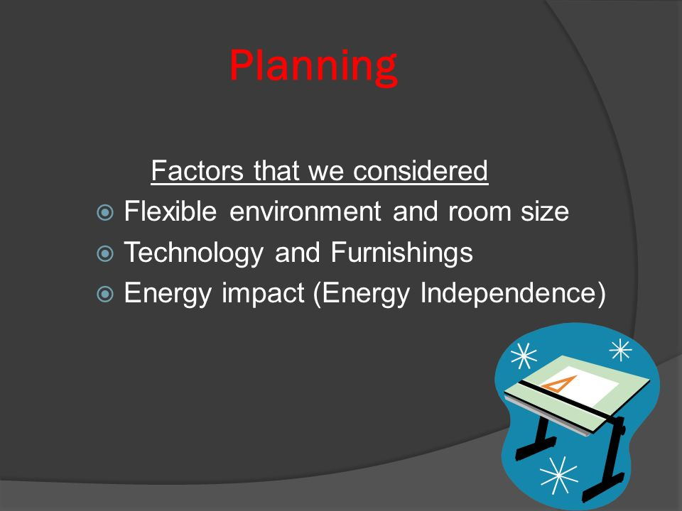 Planning Factors that we considered Flexible environment and room size Technology and Furnishings Energy impact (Energy Independence)