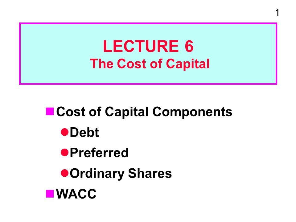 1 LECTURE 6 The Cost of Capital Cost of Capital Components Debt Preferred Ordinary Shares WACC