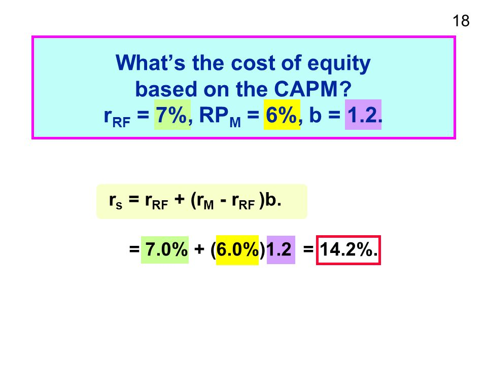 18 Whats the cost of equity based on the CAPM. r RF = 7%, RP M = 6%, b = 1.2.