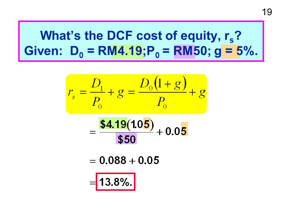 19 Whats the DCF cost of equity, r s Given: D 0 = RM4.19;P 0 = RM50; g = 5%.