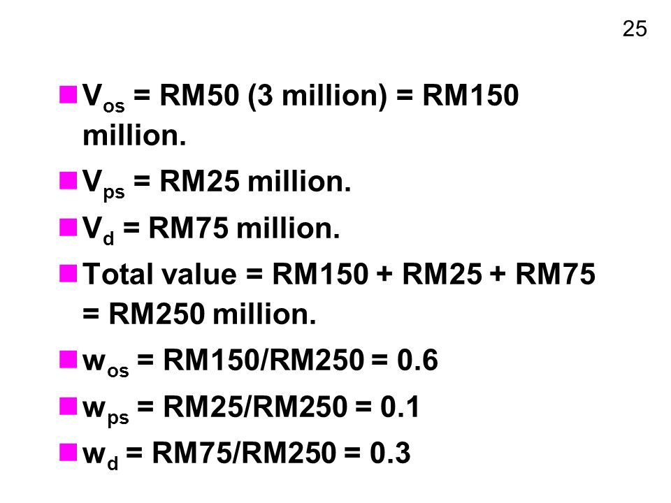25 V os = RM50 (3 million) = RM150 million. V ps = RM25 million.