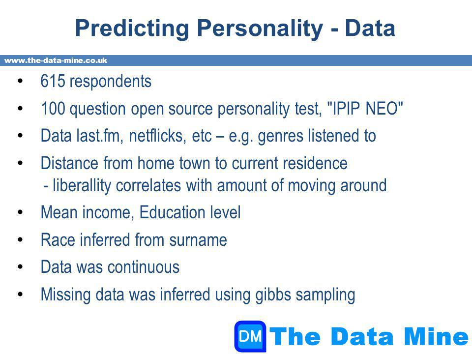 www.the-data-mine.co.uk Predicting Personality - Data 615 respondents 100 question open source personality test, IPIP NEO Data last.fm, netflicks, etc – e.g.
