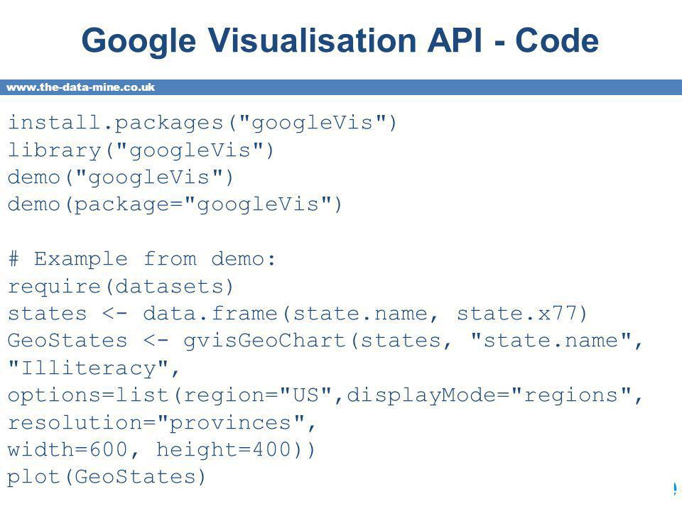 www.the-data-mine.co.uk Google Visualisation API - Code install.packages( googleVis ) library( googleVis ) demo( googleVis ) demo(package= googleVis ) # Example from demo: require(datasets) states <- data.frame(state.name, state.x77) GeoStates <- gvisGeoChart(states, state.name , Illiteracy , options=list(region= US ,displayMode= regions , resolution= provinces , width=600, height=400)) plot(GeoStates)