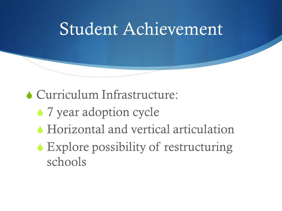 Student Achievement Curriculum Infrastructure: 7 year adoption cycle Horizontal and vertical articulation Explore possibility of restructuring schools