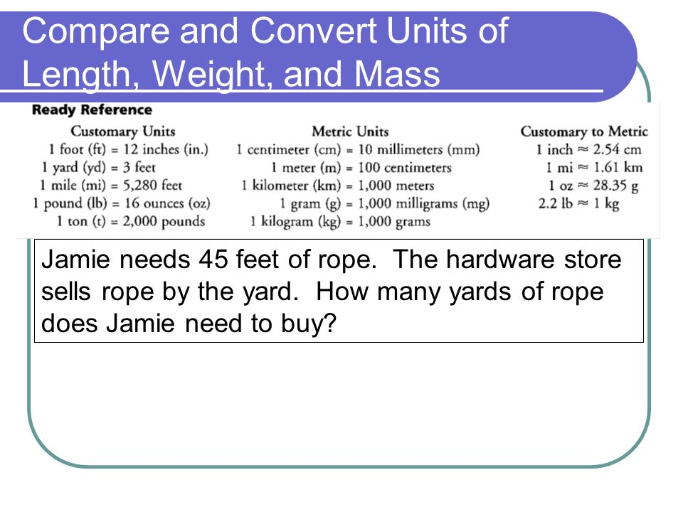 Compare and Convert Units of Length, Weight, and Mass Jamie needs 45 feet of rope.
