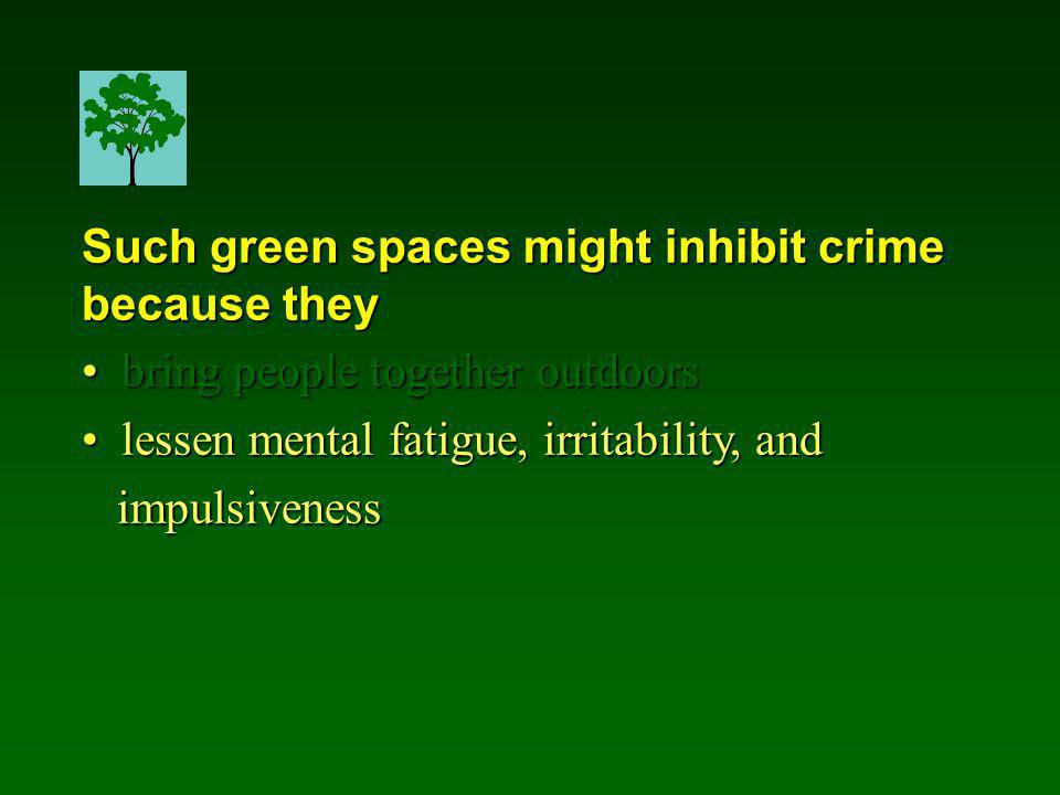 Such green spaces might inhibit crime because they bring people together outdoors bring people together outdoors lessen mental fatigue, irritability, and lessen mental fatigue, irritability, and impulsiveness impulsiveness