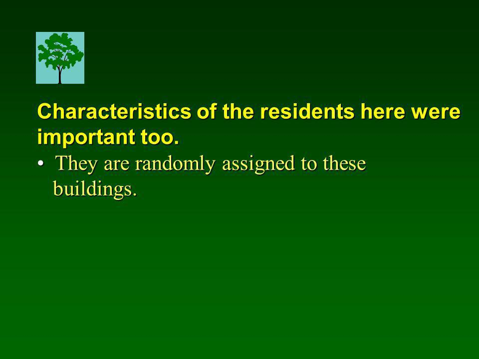 Characteristics of the residents here were important too.