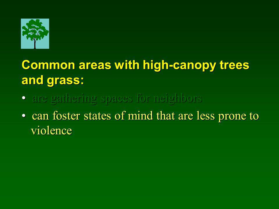Common areas with high-canopy trees and grass: are gathering spaces for neighbors are gathering spaces for neighbors can foster states of mind that are less prone to can foster states of mind that are less prone to violence violence