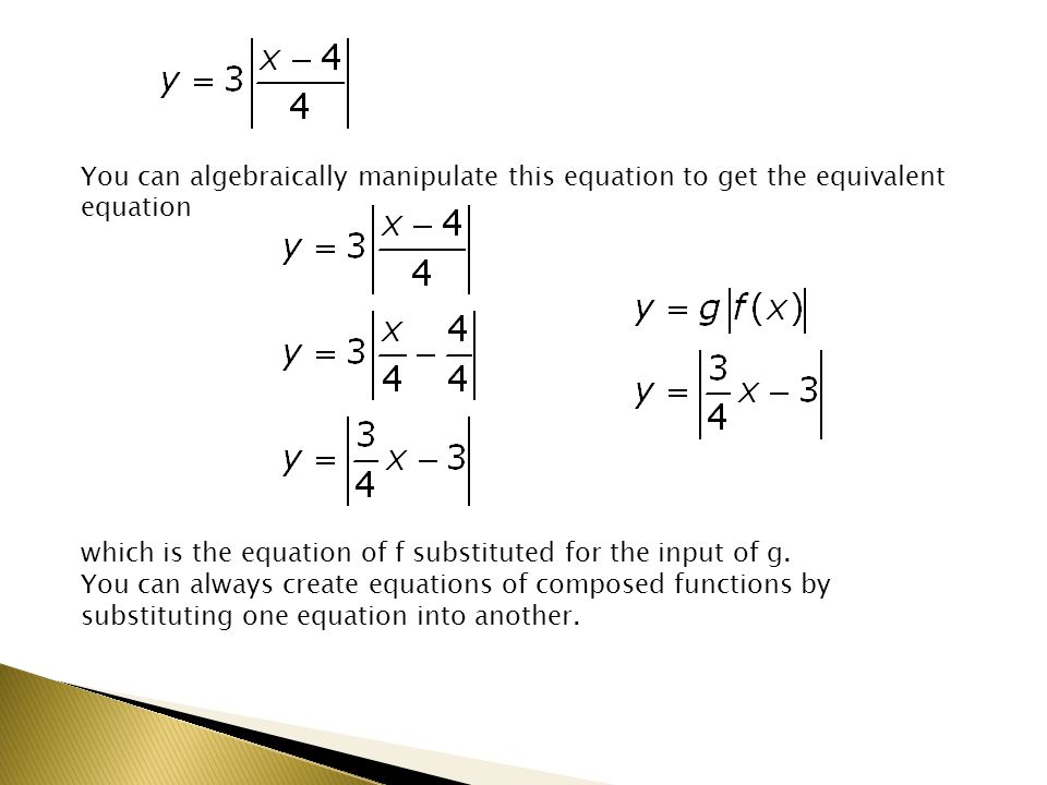 You can algebraically manipulate this equation to get the equivalent equation which is the equation of f substituted for the input of g.