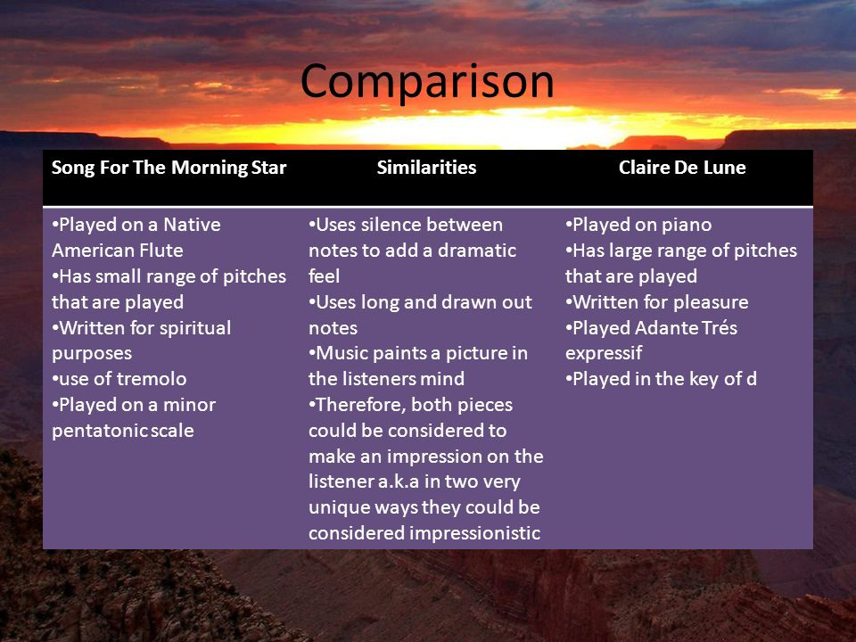 Comparison Song For The Morning Star Similarities Claire De Lune Played on a Native American Flute Has small range of pitches that are played Written for spiritual purposes use of tremolo Played on a minor pentatonic scale Uses silence between notes to add a dramatic feel Uses long and drawn out notes Music paints a picture in the listeners mind Therefore, both pieces could be considered to make an impression on the listener a.k.a in two very unique ways they could be considered impressionistic Played on piano Has large range of pitches that are played Written for pleasure Played Adante Trés expressif Played in the key of d