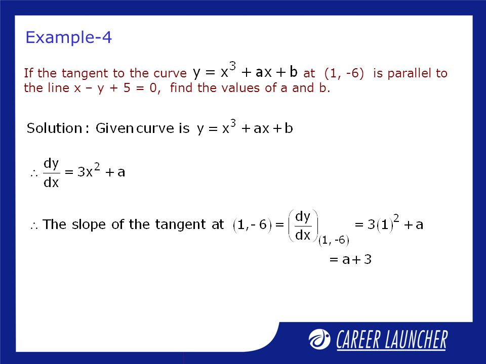 Example-4 If the tangent to the curve at (1, -6) is parallel to the line x – y + 5 = 0, find the values of a and b.
