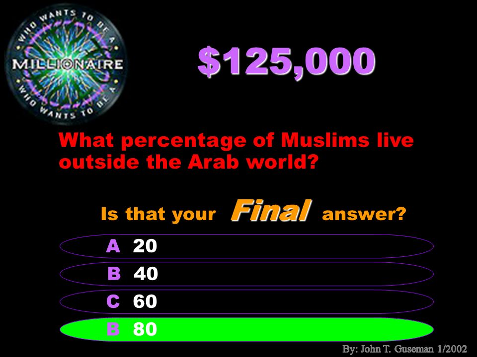 $64,000 Which is not one of the five pillars of Islam.