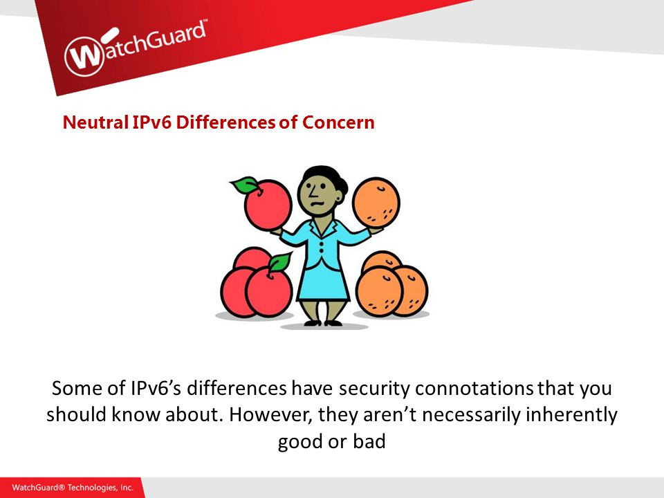 Neutral IPv6 Differences of Concern Some of IPv6s differences have security connotations that you should know about.