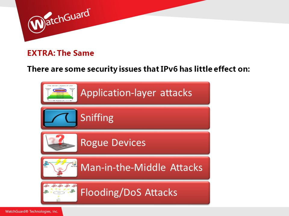 EXTRA: The Same There are some security issues that IPv6 has little effect on: Application-layer attacks Sniffing Rogue Devices Man-in-the-Middle Attacks Flooding/DoS Attacks