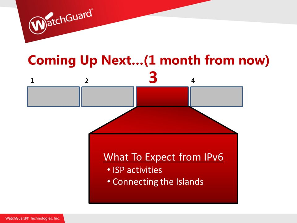 Coming Up Next…(1 month from now) What To Expect from IPv6 ISP activities Connecting the Islands