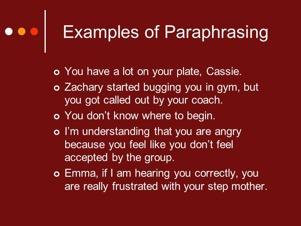 Examples of Paraphrasing You have a lot on your plate, Cassie.