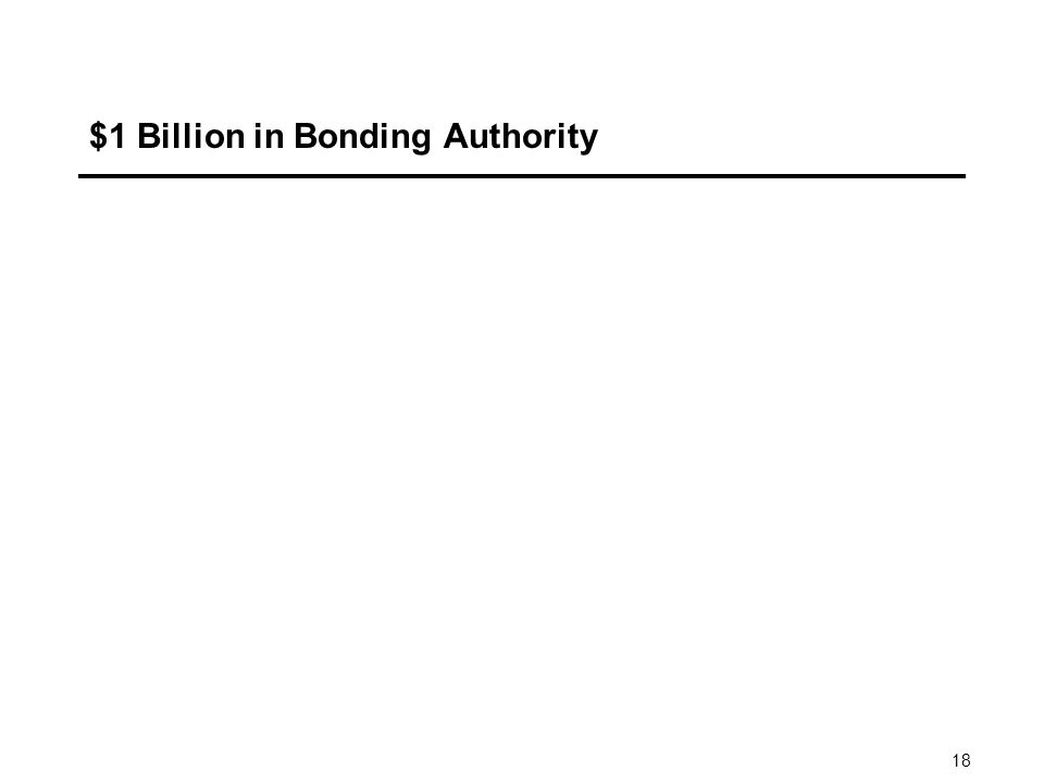 18 $1 Billion in Bonding Authority