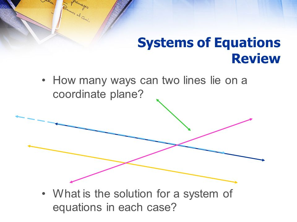 Systems of Equations Review How many ways can two lines lie on a coordinate plane.