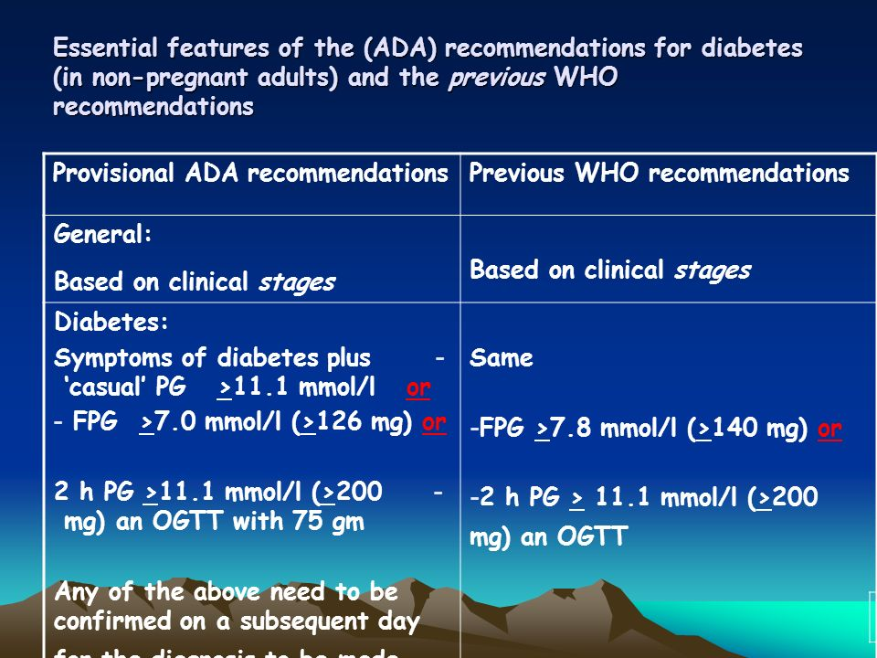 Essential features of the (ADA) recommendations for diabetes (in non-pregnant adults) and the previous WHO recommendations Previous WHO recommendationsProvisional ADA recommendations Based on clinical stages General: Based on clinical stages Same -FPG >7.8 mmol/l (>140 mg) or -2 h PG > 11.1 mmol/l (>200 mg) an OGTT Diabetes: -Symptoms of diabetes plus casual PG >11.1 mmol/l or - FPG >7.0 mmol/l (>126 mg) or -2 h PG >11.1 mmol/l (>200 mg) an OGTT with 75 gm Any of the above need to be confirmed on a subsequent day for the diagnosis to be made.