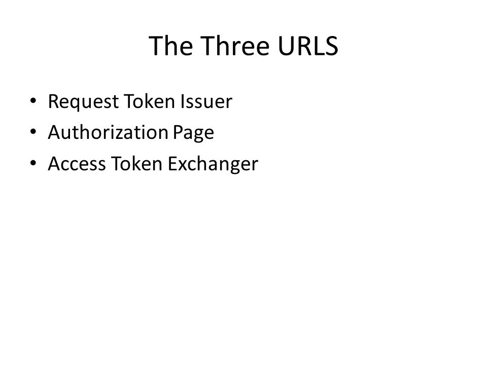 The Three URLS Request Token Issuer Authorization Page Access Token Exchanger