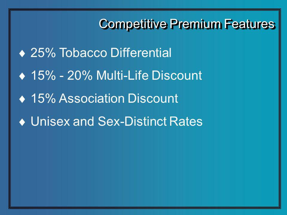 25% Tobacco Differential 15% - 20% Multi-Life Discount 15% Association Discount Unisex and Sex-Distinct Rates