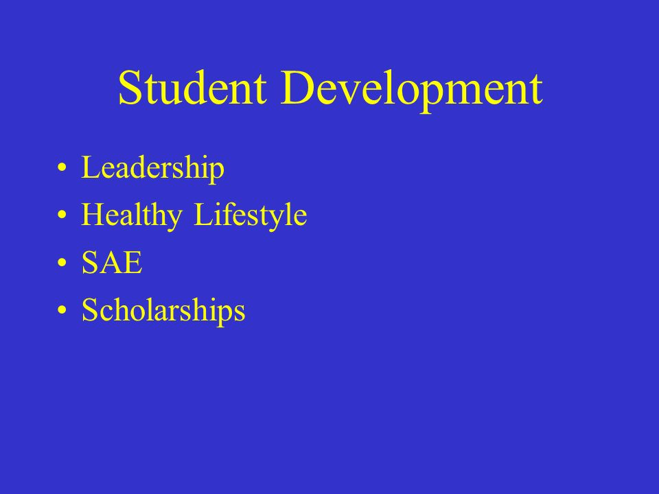 Student Development Leadership Healthy Lifestyle SAE Scholarships