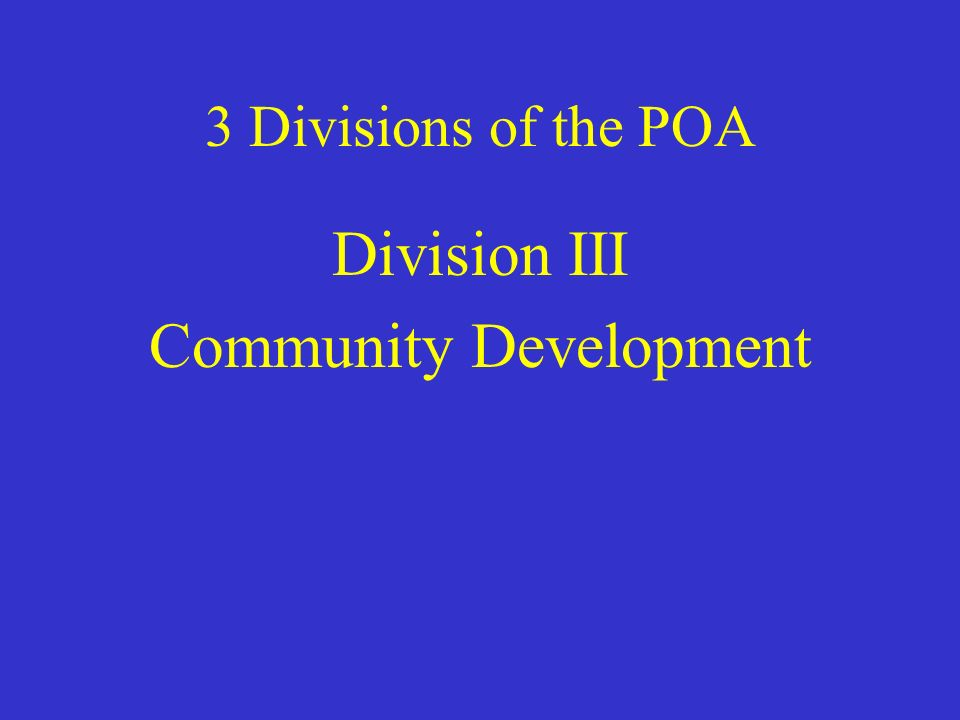 3 Divisions of the POA Division III Community Development