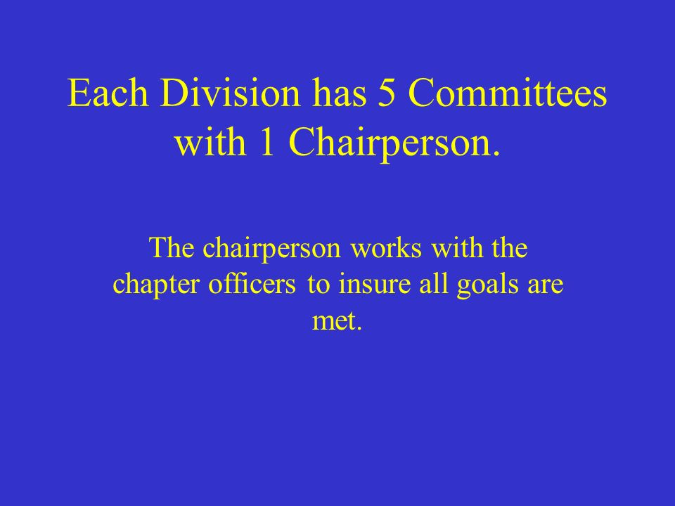 Each Division has 5 Committees with 1 Chairperson.