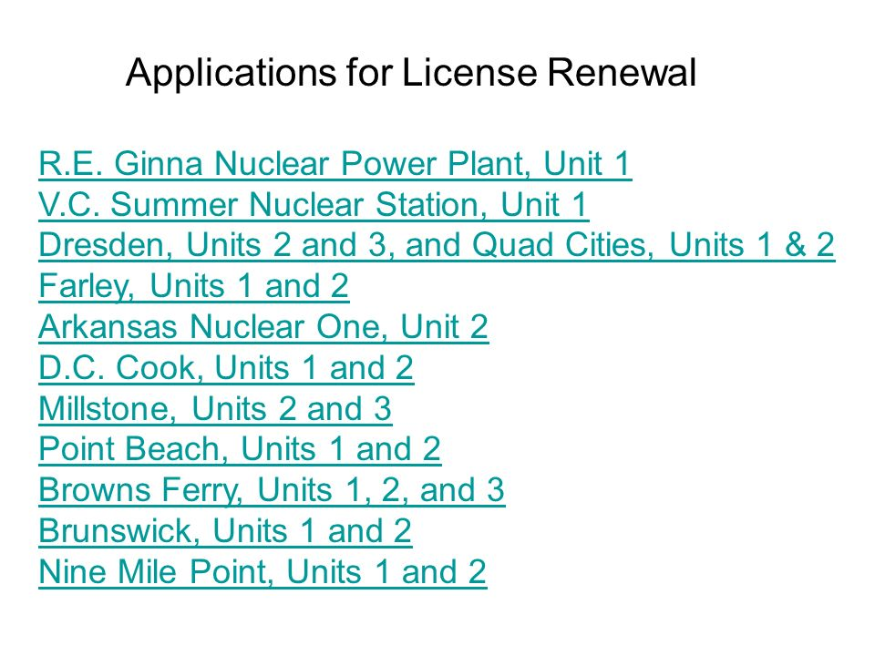 Applications for License Renewal R.E. Ginna Nuclear Power Plant, Unit 1 V.C.