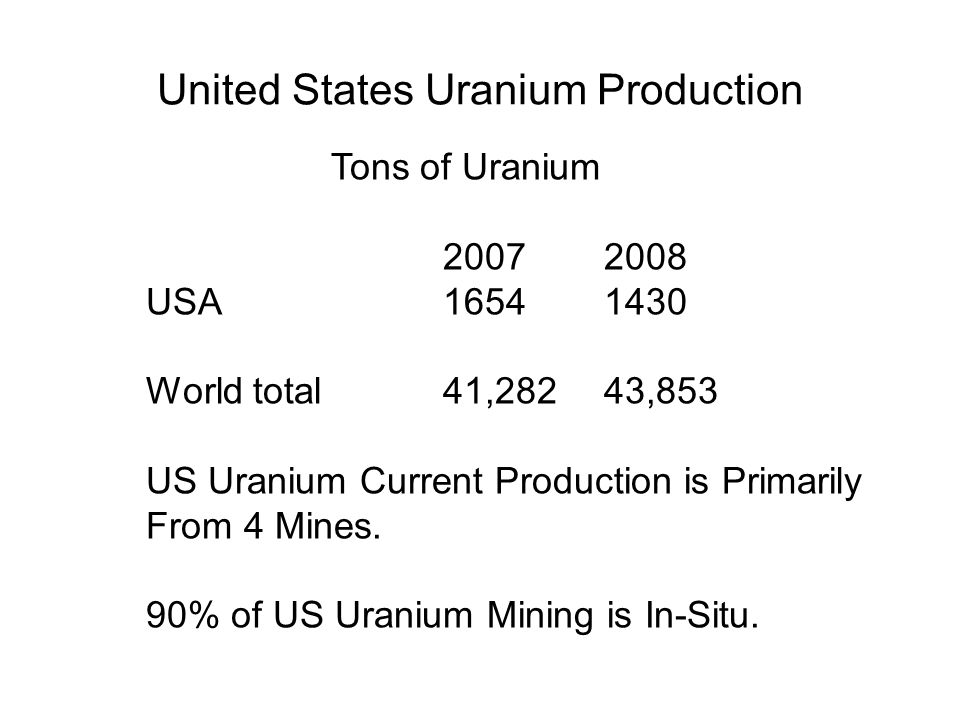 United States Uranium Production Production from mines (tonnes U) Tons of Uranium 20072008 USA16541430 World total41,28243,853 US Uranium Current Production is Primarily From 4 Mines.