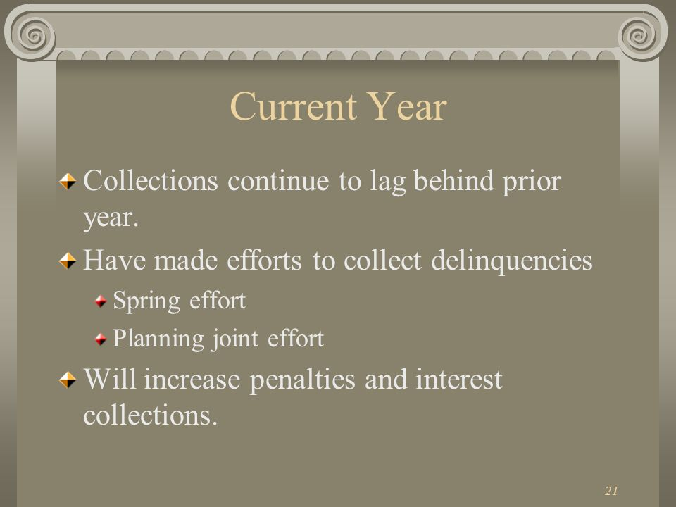21 Current Year Collections continue to lag behind prior year.