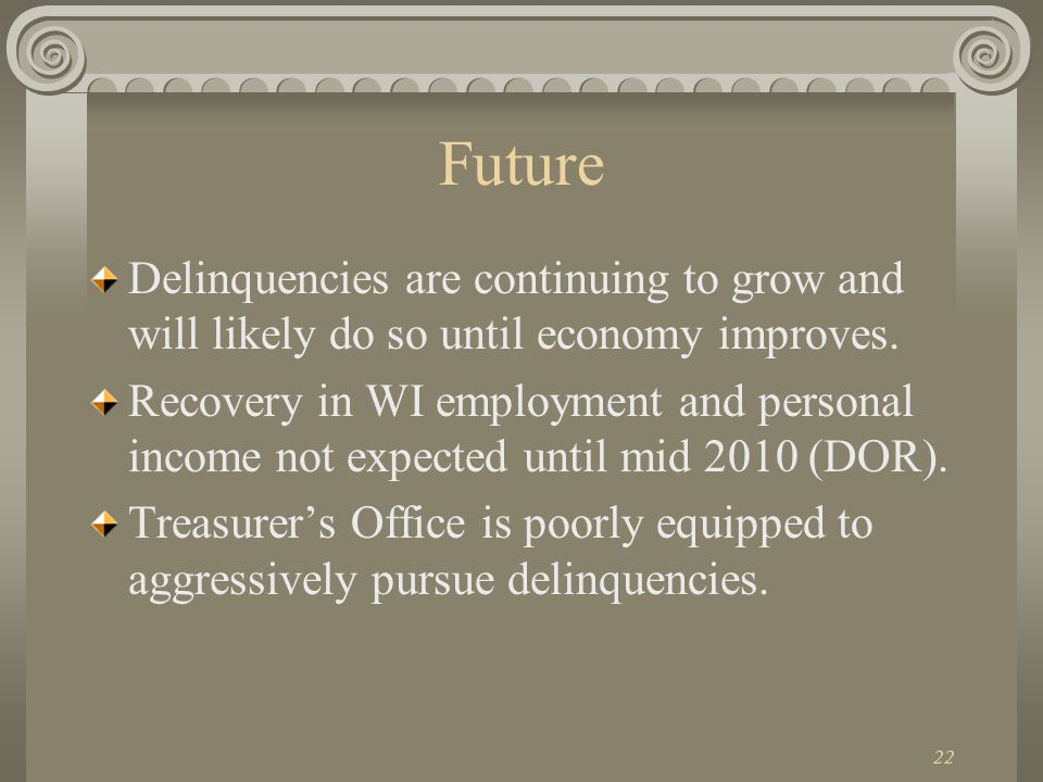 22 Future Delinquencies are continuing to grow and will likely do so until economy improves.